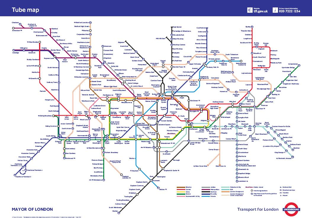 Revised Tube Map Sep 2009 with River Thames and fare zone info removed