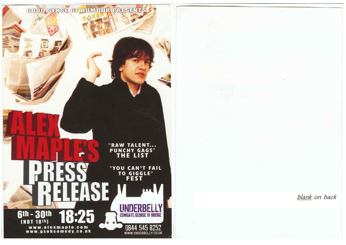 Alex Maple's Press Release flyer