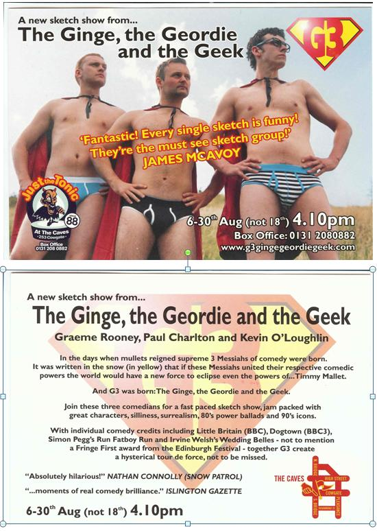 The Ginge, the Geordie & the Geek flyer