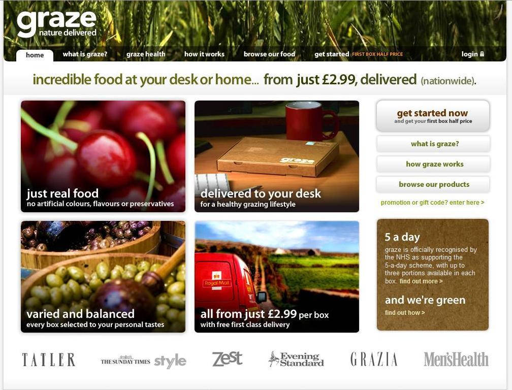 Graze.com homepage