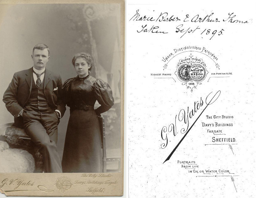 Marian BARBER & Arthur THOMAS, photographed in 1895, Fargate, Sheffield & photographer's details