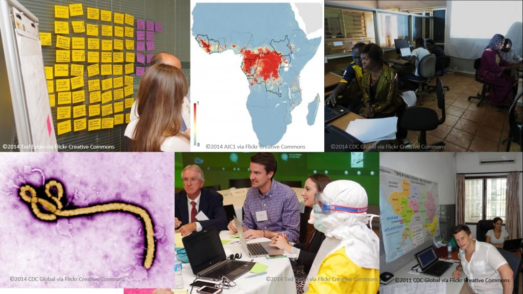 6 photos showing images related to Ebola and data mapping