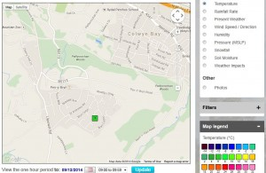Map of Colwyn Bay showing location of weather station and options to search by hour in past