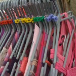Stock ordered by colour & size (pinks), Children's Society shop, Crewkerne