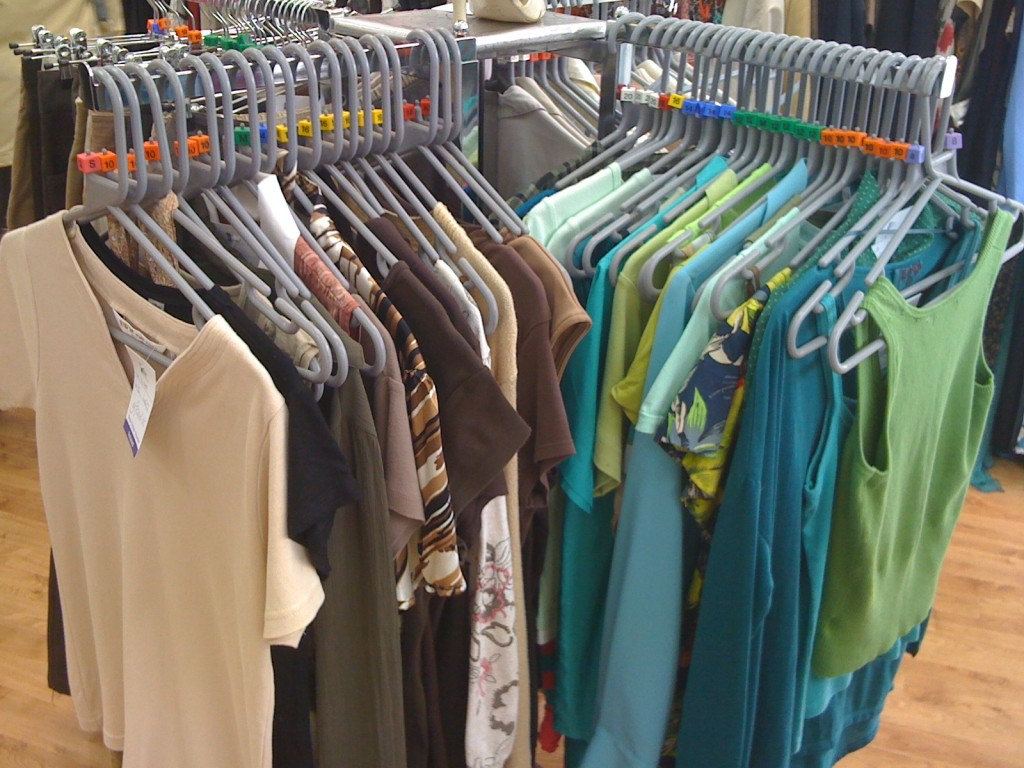 Stock ordered by colour & size (browns & blues), Children's Society shop, Crewkerne